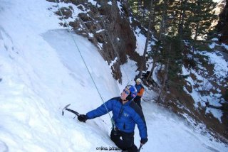 Frank Ledwell, JPFreek Editor, begins his ascent of an ice spire
