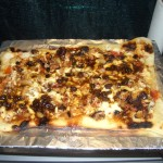 Jamaican Jerk-smoked Chicken with Plum Chutney and Plums Pizza
