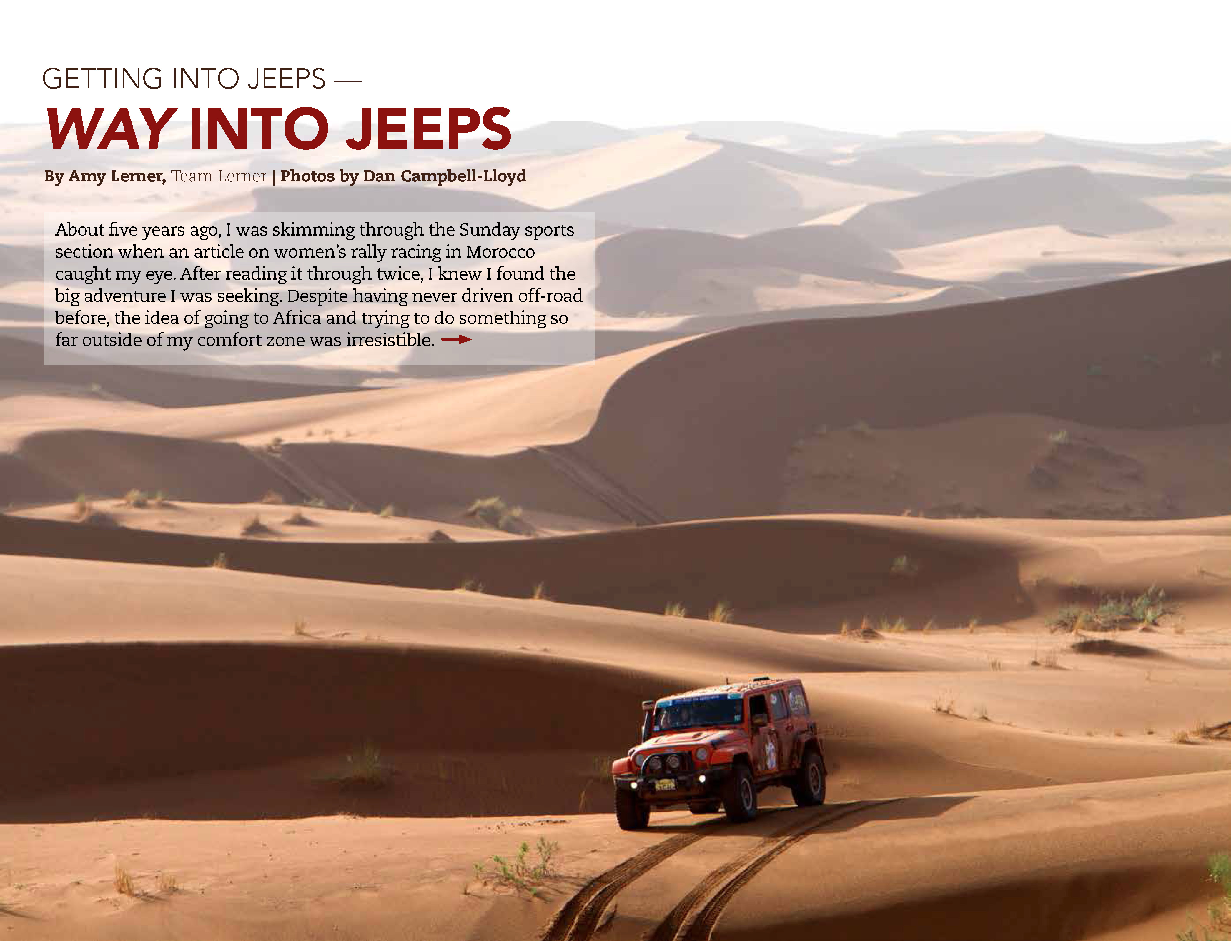 Team Lerner's JK cresting a dune while racing in Morocco