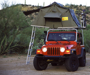Jeep rooftop tent setup