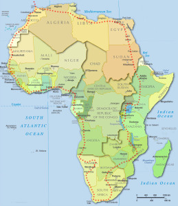 The proposed route Dan will take around Africa