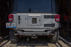 The back of the Jeep looks naked with no rear bar