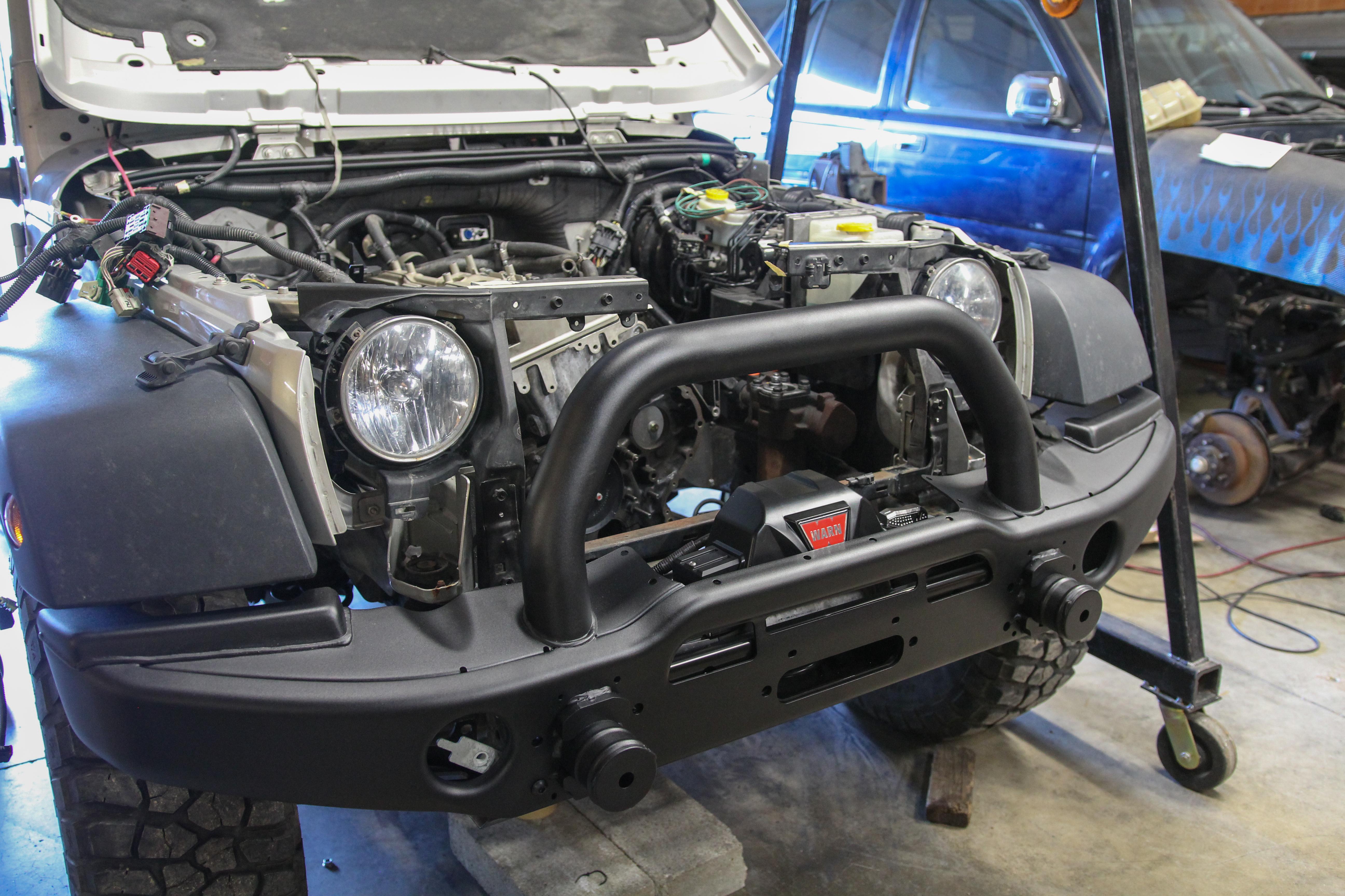 Africa Jeep Jk Wrangler Build Progress 2 Jpfreek Adventure Magazine Pillar Gauge Pod Test Fitting The Warn Zeon 10 S And Aev Front Bumper
