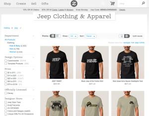 """Zazzle """"Jeep"""" Search Sample"""